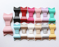 Wholesale Purple Bowknot - Mini Size Hotsale PU Leather Bows Mini size Hair Clip Small Bowknot Faux Shinning Hairpins Wholesale Girls Newborn Baby Clips