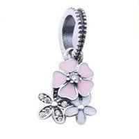 Fit Pandora Braceletes European dangle charm Primavera 925 Sterling Silver Blooms Poetic with Mixed Enamel e Clear Cz Beads