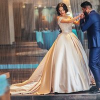 Wholesale Quinceanera Dresses Trains - 2018 Champagne Ball Gown Quinceanera Dresses Sweetheart Off Shoulder Appliques Lace Satin Plus Size Saudi Arabic Prom Dresses Sweet 16 Dress