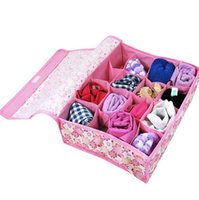Wholesale Cute Underwear Storage Boxes - hot sale cute printed florals foldable non-woven fabrics underwear socks storage box organizer 16 slots container storage bins free shipping