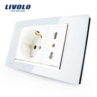 Wholesale Italian White Crystal - Livolo Italian Socket, White Crystal Glass, 10A 16A, 250V, Wall Powerpoints With Plug,VL-C3C2CIT-81
