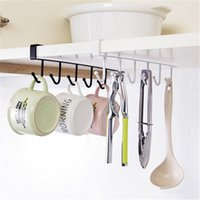 Wholesale Hanging Metal Shelves - Kitchen Storage Rack Cupboard Hanging Hook Hanger Chest Organizer Mug Holder (Size: One Size, Color: Black&White)
