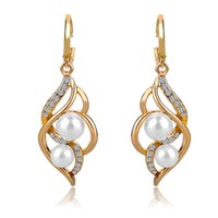 Wholesale Gold Filled Dangle - Pendientes Double Simulated Pearl Earrings For Women Crystal Gold Drop Earrings Imitated Diamond-Jewelry Brincos SER140229