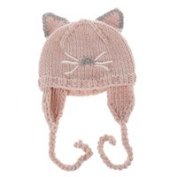 Wholesale kids winter animal hats - 2017 Cartoon cute Cat Children Caps Wholesale hats Hand Knitted Caps Animal Winter Hats kids Winter Hat Crochet baby earmuffs hat A1185