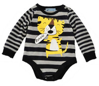 Wholesale Tiger Bodysuit Baby - Wholesale 2016 Boys Baby Rompers Girls Baby Onesies Cartoon Tiger Striped Romper Newborn Bodysuit Jumpers Toddler Long Sleeve Infant Clothes