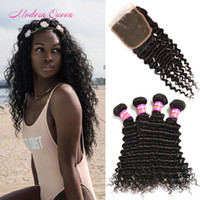 Wholesale Top Wholesale Malaysia - Malaysian Deep Curly Unprocessed Weave 4 Bundles With Lace Closure Cheap Malaysia Deep Wave Human Hair Weft Tangle Free And Lace Top Closure