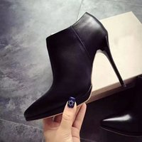 Wholesale Womens Designer Pumps - Luxury Black Nude Leather with Spikes Pointed Toes Womens Ankle Boots,11Cm Fashion Designer Sexy Ladies Red Bottom High Heels Shoes Pumps