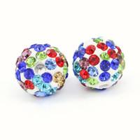 pérola de cristal de polímero venda por atacado-Clay Pave Disco Ball para Strass Cristal Shamballa Contas Metade Perfurado 6 Linhas Rhinestone Bead para Encantos Jóias Makings 100 pçs / saco