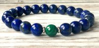 Wholesale Lapis Malachite - SN1045 Fashion Mens Lapis Lazuli Malachite Bracelet Yoga Chakra Mala Beads Bracelet Anxiety Stress Relief Bracelet Emotional Wellness Jewelr