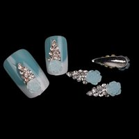 Wholesale Decorations Bling Flower Diy - Light Blue Flower With Bling Mini Drill Rhinestone Nail Decoration DIY Jewelry For Nail Tip 10PCS