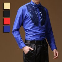 Wholesale Latin Dance Performance Clothes - New Arrival Stage Performance Sequins Shirt Long Sleeve Ballroom Dance Costumes Men Shirt Latin Modern Dance Clothing UA0068 kevinstyle