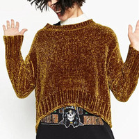Wholesale Jumper Shorts For Women - Wholesale- Brand casual crop sweaters for woman 2017 winter pullovers gold jumper loose chenille solid knitted pull femme thick warm tops