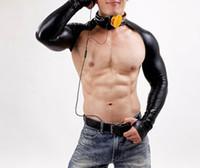 ingrosso bastoni-Sexy Body in pelle ecopelle Catsuit BodySuits 220D Latex Sexy Body Catsuit Body Abiti Uomo Manica lunga Club DJ Abbigliamento Corti Nero
