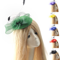 Wholesale Ladies Green Beret Hat - 8Colors lot Wholesale Lady Handmade Headwear Fascinator Pillbox Hat Hair Clip Veil Feather Accessory Ascot Wedding Proms Derby Party
