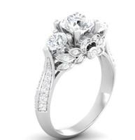 Wholesale White Topaz Stones - Wholesale Women Fashion Jewelry 925 Sterling Silver Three Stone Princess Cut White Topaz CZ Diamond Gemstones Engagement Band Ring Size 4-10