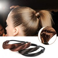 Wholesale Hair Rope Synthetic Fiber - Fashion Synthetic Fiber Hairpeice Womens Braid Straight Wig Elastic Ring Scrunchie Ponytail Hair Rope Holers Hairband