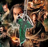 cadena de broche de moda al por mayor-Collar de broche de la hoja Movie Lord of The Rings Broche de elfo de hoja verde Broche de moda Collar de cadena de joyería