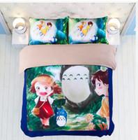 totoro bed achat en gros de-Literie 3D Set Literie Mignon Totoro Motif À La Maison Textiles Housses De Couette Linge De Lit Taies D'oreiller En Gros