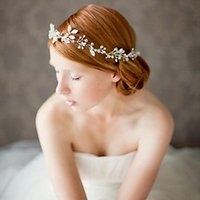 Wholesale Silver Headbands - Fashion Rhinestone Flower Headpiece Wedding Hair Accessories Special Occasion Headbands Bridal Headband Tiara Headwear Bridal Crown Headband