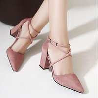 Nouveau 2017 Fashion Nubuck Leather Thick High Heels Pointed Toe Talons hauts Women's Sandles Sexy Buckle Strap Pumps Shoes Hot Sale