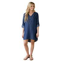 Wholesale Jean Skirt Shorts Women - NEW Women's Spring Long Sleeve Casual Loose Denim Longer Rear Jean Skirt Short Dress