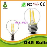 Wholesale Led Globe 6w Cool White - 2w 4w 6w 8w led filament bulb light Dimmable G45 C35 A60 glass clear e27 b22 e14 360 degree led lamp for indoor