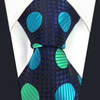 Wholesale Silk Ties Men Classic - Y18 black Dark Turquoise Polka Dot Silk Jacquard Woven Classic Fashion Men's Accessories Ties Necktie