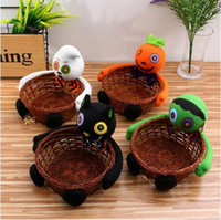 Wholesale Bamboo Baskets - New Holloween Candy Holder Storage Boxes Smile Bamboo Pumpkin Bucket Basket Halloween Party Decor Fruit Bowl Bins Container CCA7532 60pcs