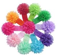 Wholesale Crochet Headband Big Flower - 30pcs lot Baby newborn Headband Toddlers Kids Infant Crochet weave Hairband & Big Chiffon flowers Headbands Children girls hair Accessories