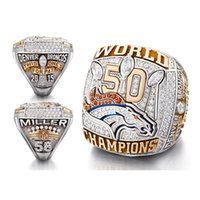 Wholesale Super D - Free Delivery! Solid New Arrival 2015 2016 D enver B roncos Super Bowl 50 Championship Ring replica rings for man fans as gift sports ring
