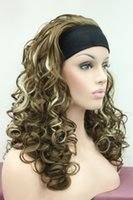 blonde highlights pictures - 100 Brand New High Quality Fashion Picture full lace wigs gt gt sexy light brown w blonde highlight wig with headband curly long half wig
