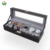 Wholesale Large White Jewelry Box - Large 6 Slot PU Leather SENIOR Watch Box Display Case Organizer Glass Top Jewelry Storage ORGANIZER BOX BLACK WITH WHITE STICHING