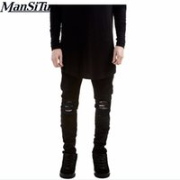 Wholesale Full Si - Wholesale- Man si Tun 2017 Newest Fashion Biker Jeans Motorcycle Style Elastic Men Jeans Black White Colors Slim Fit Washed Pants