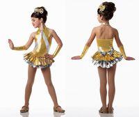 Wholesale Girls Latin Dance Costume - Gold girls dance costume latin dance dress Blonde Latin dance skirt skirt children new clothes and girls' skirts and ballet costumes dress v