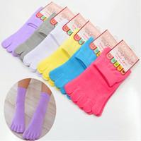 Wholesale Cute Toe Socks For Women - 2016 Fashion Cute Candy Color 100% High Quality Cotton Toe Socks Funny Womens Five Toe Sock For Girls Calcetines Meias Feminina KK