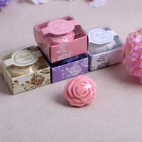 cajas amarillas del favor de la boda al por mayor-12 unids jabón rosa flor con caja de regalo Favores de la boda fiesta de bienvenida al bebé regalo de Navidad rosa / blanco / amarillo / púrpura