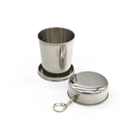 Wholesale 240ML Stainless Steel Portable Mini Travel Retractable Cup Folding Collapsible Cup with Keyrings Outdoor Sport Fold Water Bottle