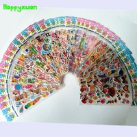 Wholesale Kids Sticker Sheet Car - 50 sheets lot 3D Mini Cartoon Puffy Stickers Children Animal Fruit Flower Candy Cake Cars Transport Classic Toys for Kids Girls