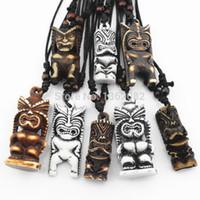 Wholesale Hawaiian Maori Bone - Jewelry Wholesale lots MIXED 8 PCS Maori Hawaiian Style Imitation Yak Bone Carved TIKI Pendants Necklace for men women's Gift MN424