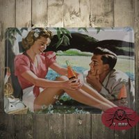 Wholesale Fall Posters - Fall in loving painting Tin plate Sign pub home Wall Decor Retro Metal Art Poster K-08 20*30cm mixed order 160909#
