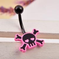 Wholesale Cool Belly Button Rings - 3pcs lots Fashion Cool Zircon CZ Diamond pink Skeleton Skull Sex Body Piercings Navel Belly Ring Piercing Women Ombligo Punk Jewelry