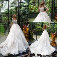 Wholesale Luxurious Wedding Dresses Sleeves - Luxurious Milla Nova Full Lace Wedding Dresses 2018 Sheer Crew Neck A Line Long Sleeves Applique Bead Covered Buttons Plus Size Bridal Dress