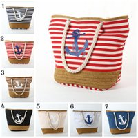 Wholesale Big Womens Bags - Womens Fantasy Summer Handbag Canvas Female Shoulder Bag Anchor Printed Handbag Big Tote Bag Travel Beach Bag Luxury Designers YYA657