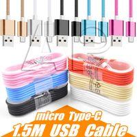 kablolar toptan satış-1.5 M Tipi C 3ft 6ft 10ft Örgülü USB Şarj Kablosu mikro V8 Samsung S9 için Kablolar Veri Hattı Metal Fiş Artı