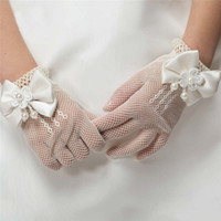 luvas de casamento flor menina venda por atacado-Novas Meninas Luvas de Creme e Laço Branco Pérola Fishnet Comunhão Festa de Flor Menina e Luvas De Casamento