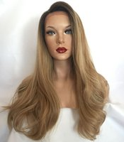 Wholesale 1b 27 lace wigs for sale - Group buy MHAZEL natural straight side part ombre b blonde inch medium brown glueless lace front lace wig