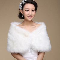 Wholesale Ivory Faux Fur Shawl - 2017 Ivory Winter Wedding Coat Bridal Faux Fur Wraps Warm shawls Outerwear Black Burgundy White Korean Style Women Jacket Prom Evening Party