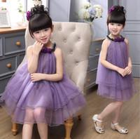 Wholesale Western Suspenders - Fashion European Western Style Baby Kids Clothing 2016 Girls Flower Tulle Halter Suspender Dress Children Bontique Dresses 2 Color 9192