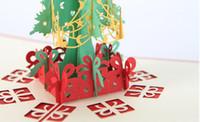 carton rouge de chine achat en gros de-Cartes de voeux de Noël 3d cartes à la main Pop Up cartes 3D cartes de papeterie cadeau cadeau de Noël à la main Vintage rétro percé Post cartes de voeux