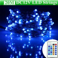 Wholesale Red Flashing Led 12v - Dimmable LED Flash Light Strings 12V 20M 66FT RGB Blue Red Green Pink Purple Warm White Cool White LED String